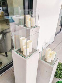 DIY Windlichtsäulen aus Beton - FashionHippieLoves - Lilly is Love Modernisme, Beton Diy, Dollar Store Christmas, Flower Oil, Hippie Style, Dollar Stores, Lanterns, Concrete, Diy Home Decor