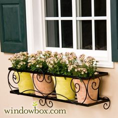 window boxes | Window Box Cage (Square Design) - Wrought Iron Window Boxes - Window ...