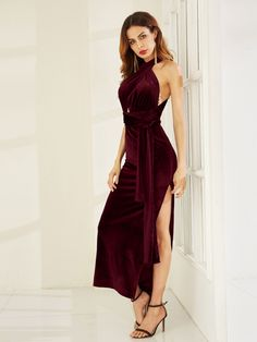 To find out about the High Slit Velvet Convertible Dress at SHEIN, part of our latest Dresses ready to shop online today! Fall Dresses, Prom Dresses, Summer Dresses, Sheath Dresses, Long Dresses, Dress Long, Sleeveless Dresses, Graduation Dresses, Quinceanera Dresses
