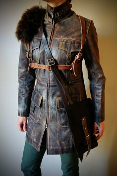 Real Leather Full Length Dystopian Coat with chest Harness and Waxed Canvas Bag - mad max, apocalypse, Please read description for sizes by Vontoon on Etsy