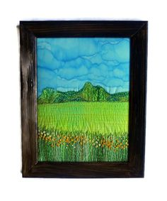 Textile Art Embroidery painting Fiber Art Wall hanging Framed textile picture