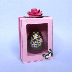 Dollhouse miniature EASTER EGG in pink box dolls house food