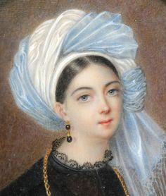 Miniature de G de Carbonel Femme au turban 1835