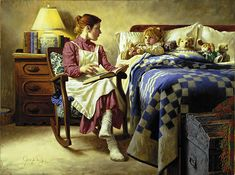 Bedtime Story - mother reading to child by Americana artist Jim Day