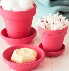 Bathroom Storage Ideas for Small Spaces - Colorful Potted Accessories - Click Pic for 42 DIY Bathroom Organization Ideas