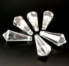 1 großer geschliffener Glasanhänger 31mm | Crystal *pe5024