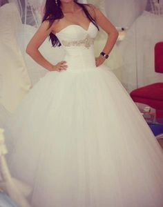 One of the few ballgowns that I actually like. #Sweetheart neckline with bling under the bust and of course, a big tulle skirt. #wedding #dress