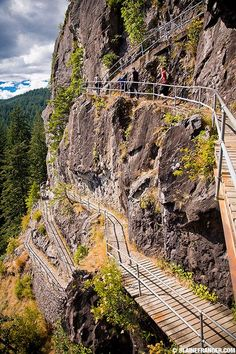 Hikers ascend Beacon Rock   Beautiful Hood River   hood river / columbia river gorge photo blog by blaine franger