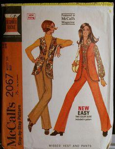 Vintage 1960s Sewing Pattern Womens Mod Vest and Pants Pattern McCalls 2067 Sz 14. $10.00, via Etsy.