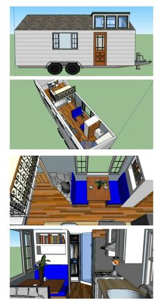 Tiny Home Design x Downstairs queen bed, loft with twin bed for child. Large closet for clothes in bathroom. Tiny House Design, Tiny House On Wheels, Plan Design, Queen Beds, Kid Beds, House Floor Plans, Tiny Houses, Home Kitchens, Building A House