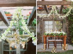 bride and groom table - love the way the flowers are placed - and the use of a chandelier