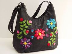 Silk Ribbon Embroidery Bible: The Essential Illustrated Reference to Designs and Techniques - Embroidery Design Guide Embroidery Bags, Silk Ribbon Embroidery, Hand Embroidery Patterns, Diy Handbag, Recycle Jeans, Boho Bags, Beaded Purses, Denim Bag, Fabric Bags