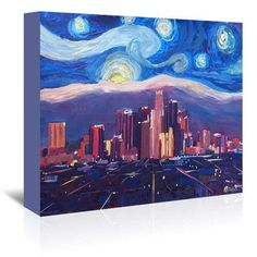 East Urban Home Starry Night in Los Angeles Original Painting on Wrapped Canvas Size: