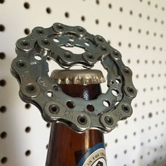Are you looking for a unique gift? This is your chance! Bottle opener made from bike gear and small piece bike chain! 100% recycled 125% fun