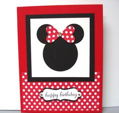 """Minnie Mouse punch art card, cased from a convention swap from Susan Wohlfert. I changed the colors and stamp set.  1 3/4 circle punch, 1"""" circle punch. Heart Framelits, Polka Dot Parade DSP. Decorative Label punch."""