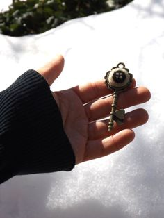 Creepy key pendant with black button, bronze key charm with needle felted badge eye, ceepy cute chain charm, gift for animation movies lover