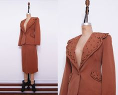 1940s rust brown suit / Vintage 40s pinup 2 piece by Ainshent, $119.00