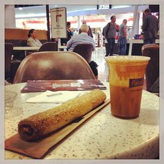 Greek coffee 'frappe' and feta pastry at Athens airport Athens Airport, Frappe, Coffee Time, Feta, Greek, Athens Greece, Wordpress, Times, Coffee Break