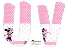 Lindo alfabeto de Minnie saludando, en rosa y blanco UV.