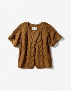 CARDIGAN WITH CENTERED CABLE KNIT    $39.90