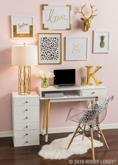 silver and gold bedroom. purple and gold bedroom ideas. black and gold room gold room decor black red and gold bedroom ideas gold themed bedroom. White Desk Office, Small White Desk, Office Den, Office Nook, Black Office, Office Setup, Office Workspace, Office Style, Acrylic Chair