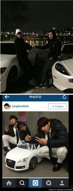 EXO and BTS with their sweet rides