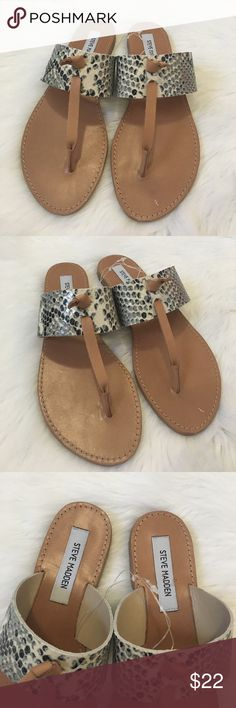 Steve Madden Olivia Snake Sandals Brand new, never worn, small scratch as pictured on sole of left sandal, priced accordingly. Natural snake patterned upper, classic and comfortable genuine leather. Ships next day. Steve Madden Shoes Sandals