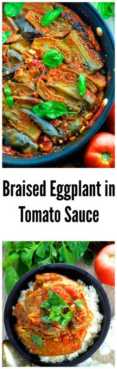 Braised eggplant in Fresh Tomato Sauce - Take advantage of summer vegetables with this simple and tasty 5 ingredient dish. It's winter time? no worries, use canned diced tomatoes instead for this fabulous dinner recipe.