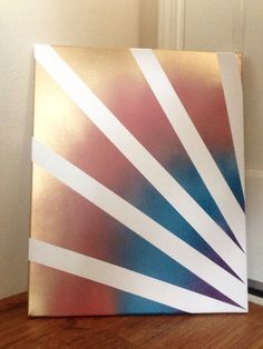Easy diy canvas art step 1 use blue tape and place for Tape painting on canvas
