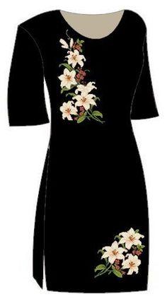Dress Design Patterns, Dress Neck Designs, Stylish Dress Designs, Stylish Dresses, Kurti Embroidery Design, Flower Embroidery Designs, Embroidery Dress, Saree Painting Designs, Fabric Paint Designs