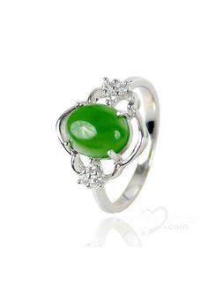 XYYC Elegant Platinum Sterling Silver Perfect Jade Ring Girls Jewelry