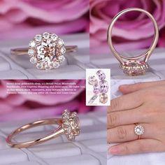 Round Morganite Engagement Ring Moissanite Halo 14K Rose Gold 7mm