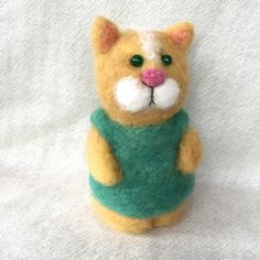 Needle felted Kitten needle felted cat felting cat by Felt4Soul