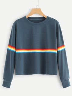 SHEIN offers Striped Tape Sweatshirt & more to fit your fashionable needs. Fashion 101, Fashion Outfits, Womens Fashion, Fashion Styles, Fashion Ideas, Sweatshirts Online, Hoodies, Cool Outfits, Clothes For Women