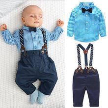 Infant Baby Boy Children Bow Tie Plaid Shirt+Suspender Overalls Clothes set Kids Wedding Party Formal Outfits 2PCS(China (Mainland))