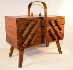 Vintage Wooden Sewing Box, Craft Knitting Organizer Accordion Fold Out