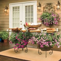 glass table with Petunias