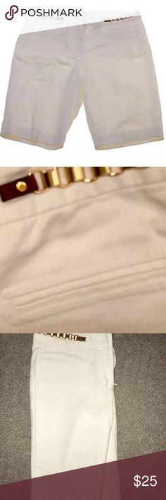 Michael Kors White Bermuda shorts w/gold belt New never worn white MK Bermuda shorts with pretty gold chain! Feel free to make offers!! Michael Kors Shorts Bermudas