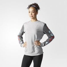 Printed Sleeve Crew Sweatshirt - Grey