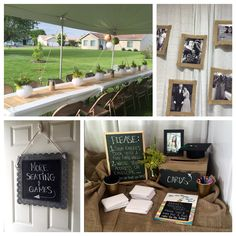 Grad party decor 2015: -Chalkboard signage -Burlap Framed Floating Photos -Paper Lantern Flower Vases -Grad Cap Mason Jar Photos -Story book for guest sign-in -Card display