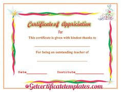 Colorful best reader certificate of appreciation template certificate of appreciation for outstanding teaching thecheapjerseys Image collections