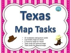 Maps: Texas Map Task Cards are great independent and whole group lessons. The packet includes the following:12 vocabulary and picture cards3 printable maps of Texas2 resource maps of TexasTask cards for political mapsTask cards for physical mapsTask cards for regional maps
