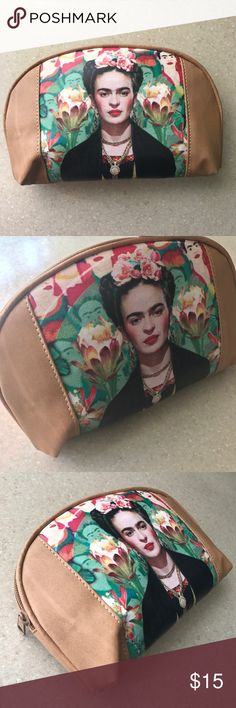 ⭐️ New Frida Kahlo Cosmetic Bag Tan Mexican Print New, waterproof material, zippered closure. Tan with classic Frida Kahlo print. Handcrafted in Mexico. Cielito Lindo is our store name, click on it to see all our Mexican handmade line of clothing and accessories! All our products are directly sourced from Mexican artisans respecting Fair Trade rules. Visit www.cielitolindo.tk for more variety! Cielito Lindo  Bags Cosmetic Bags & Cases