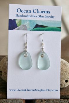 Sea Glass Jewelry Light Aqua Earrings Sterling Silver.