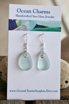 Sea Glass Jewelry Light Aqua Earrings Sterling Silver.
