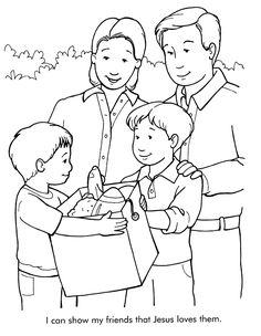 being a friend like Jesus coloring pics | From Thru-the-Bible Coloring Pages for Ages 4-8. © 1986,1988 Standard ...