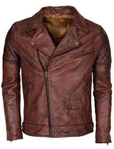 Mens Brown Brando Waxed Designer Motorcycle Genuine Nappa Leather Jacket ►BEST…