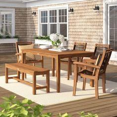 Beachcrest Home Belchers 6 Piece Dining Set Outdoor Furniture Sets, Furniture, Dining Set, Traditional Furniture, Beachcrest Home, Dining Furniture, Solid Wood Table Tops, Outdoor Furniture, Dining Room Sets