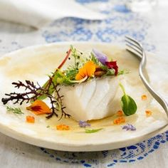 Steamed #Cod with Edible #Flowers