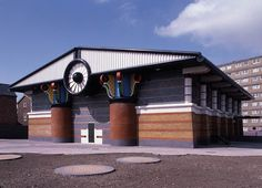 """John Outram  """"PUMPING STATION"""" for the ISLE OF DOGS, LONDON 1985-88"""